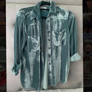 Anthropology turquoise velvet button down shirt